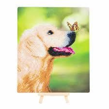 Crystal Art Dog & Butterfly portrait 21x25 cm incl. stand