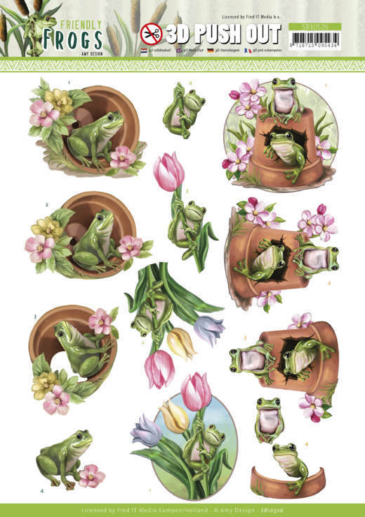 3D Push Out - Amy Design - Friendly Frogs - Flower Frogs
