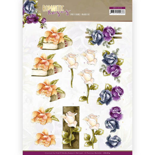 3D cutting sheet - Precious Marieke - Romantic Roses - Multicolor Rose